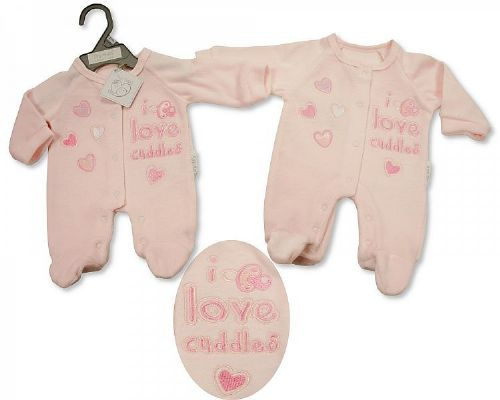 Tiny Baby Embroidered Romper - Pink